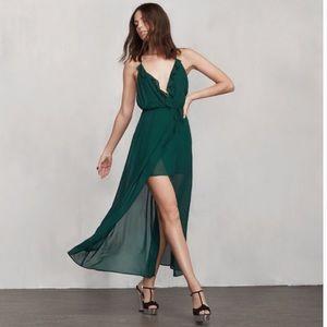 Reformation Hayworth emerald dress XS